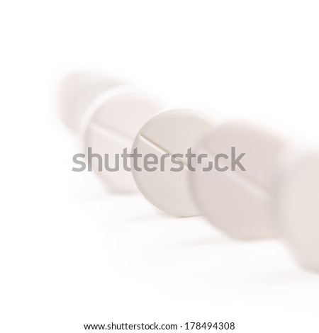 medical pills isolated on white background