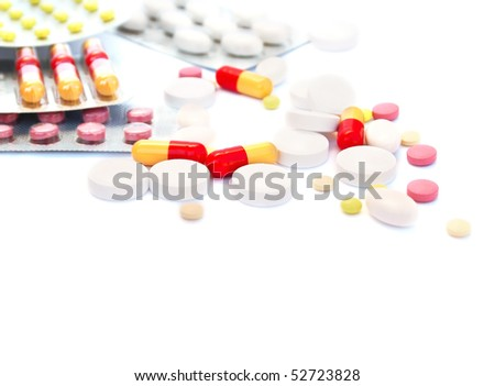 Medical pills isolated on white background.