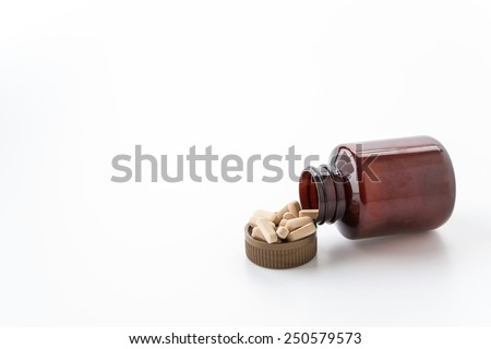 Medical pills, lots of medicine on white background