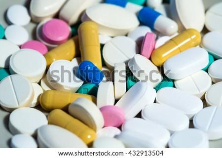 Medical pills. Medicine background. - stock photo