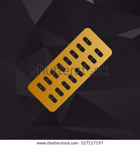 Medical Pills sign. Golden style on background with polygons.