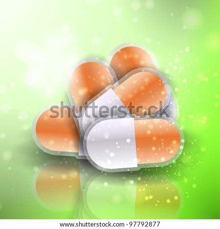 Medical pills - tablets illustration  on reflective surface, isolated objects