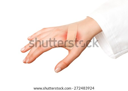 Medical plaster red skin - stock photo