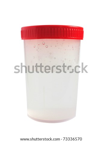 Medical plastic bank with lid; isolated photo translucent plastic jars with red cap