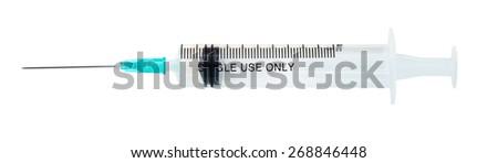 Medical plastic disposable single use 10 ml syringe isolated on white background - stock photo