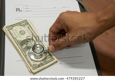 medical prescription and US dollar notes symbol for health care costs or medical insurance