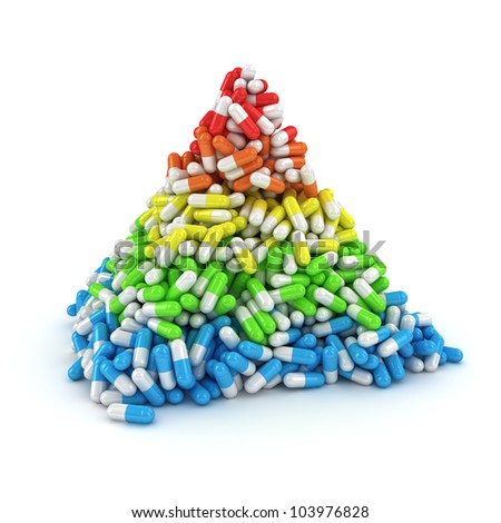 Medical pyramid made from multicolored layers of capsules - stock photo
