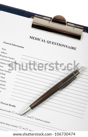 Medical Questionnaire form with shallow depth of field