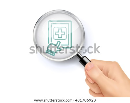 Medical record icon showing through by magnifying glass held by hand. 3D illustration.