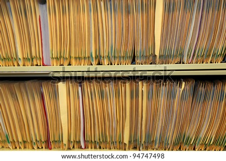 Medical records in the shelf of physicians office