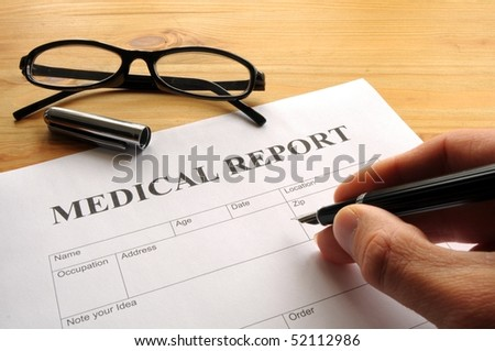 medical report form in doctors hospital office showing health concept