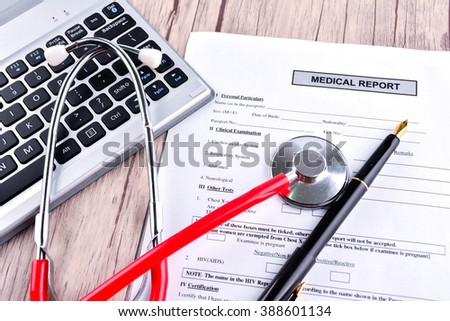 Medical Report with Shethoscope. Medical and Healhcare Concept - stock photo