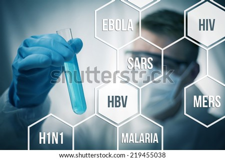 Medical research and chemistry looking to cure diseases - stock photo