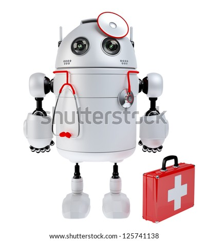 Medical robot robot with the first aid kit. Repair concept. Isolated - stock photo