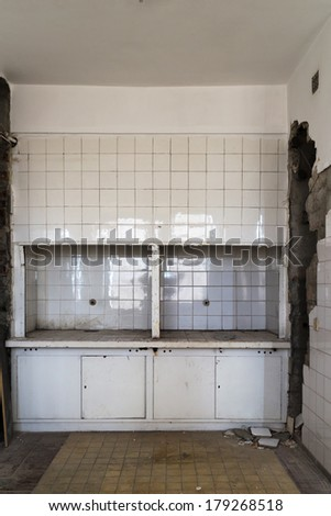 Medical rooms in an abandoned hospital - stock photo