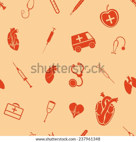 Medical seamless pattern - stock photo