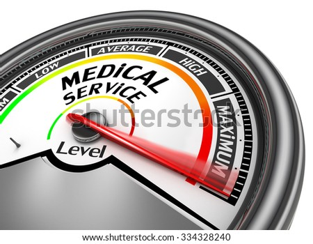medical service level to maximum conceptual meter, isolated on white background - stock photo