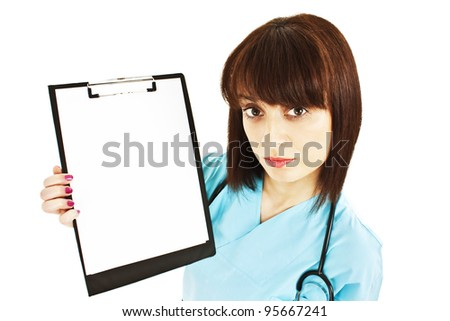 Medical sign. Young woman doctor / nurse showing empty blank clipboard sign with copy space for text. Isolated over white background. - stock photo