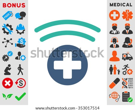Medical Source glyph icon. Style is bicolor flat symbol, cobalt and cyan colors, rounded angles, white background. - stock photo