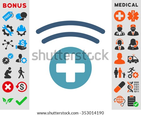 Medical Source glyph icon. Style is bicolor flat symbol, cyan and blue colors, rounded angles, white background. - stock photo