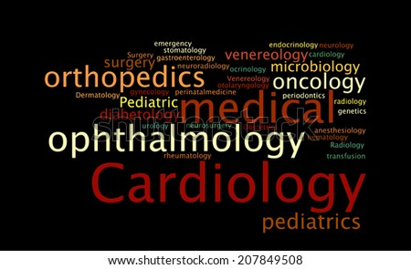 Medical specialization in the form of a cloud of words.  illustration - stock photo