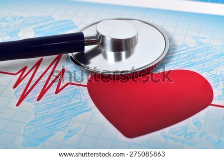 medical stethoscope and heart, extar close up