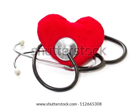 Medical stethoscope and plush heart on a white background