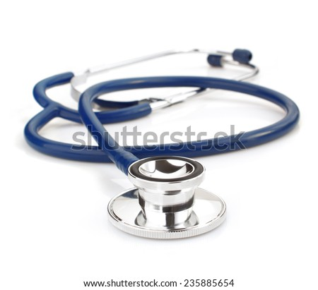 medical stethoscope isolated on white background - stock photo