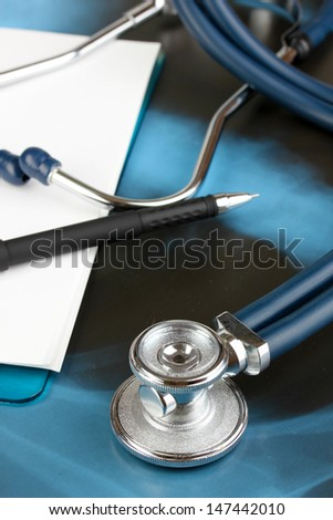 Medical stethoscope on an x-ray picture close up