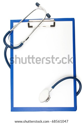 medical stethoscope with form blank isolated on white background - stock photo