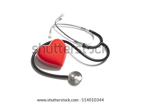 Medical stethoscope with red heart