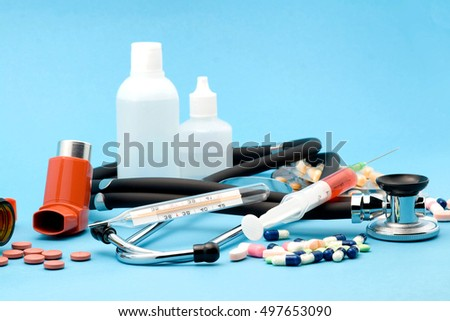 medical supplies studio isolated over blue