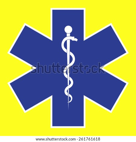 Medical symbol of the Emergency - Star of Life. The illustration on yellow background.  - stock photo