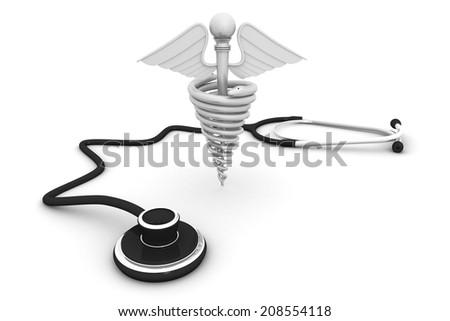 Medical symbol with Stethoscope  - stock photo