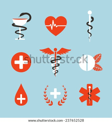 Medical Symbols Emblems and Signs Collection. Set of graphic medicine icons. Caduceus, emergency, bowl with snake. Raster variant. - stock photo