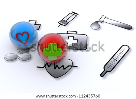 Medical symbols tools and medicine - stock photo