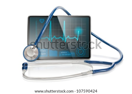 Medical tablet showing cardiogram on display and a blue stethoscope, isolated on white background. - stock photo