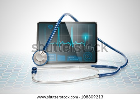 Medical tablet showing cardiogram on display and a blue stethoscope, on futuristic background background.