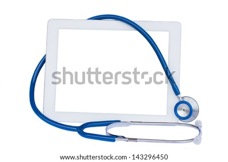 medical tablet with blue stethoscope isolated on white background - stock photo