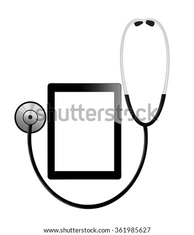 Medical tablet with empty screen and  stethoscope on white background