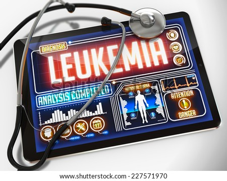 Medical Tablet with the Diagnosis of Leukemia on the Display and a Black Stethoscope on White Background. - stock photo