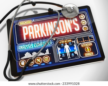 Medical Tablet with the Diagnosis of Parkinson's on the Display and a Black Stethoscope on White Background.