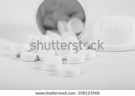 Medical tablets close up from the bottle