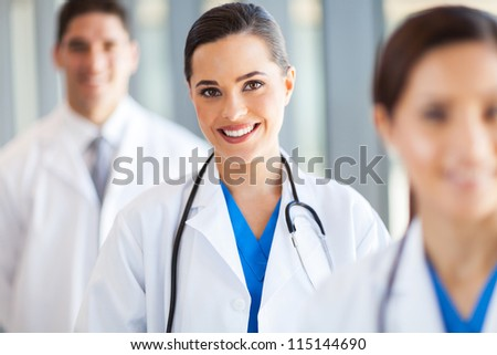 medical team group portrait in hospital - stock photo