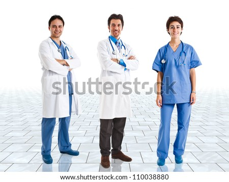 Medical team in a bright room - stock photo