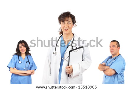 Medical team leader isolated on white background - stock photo