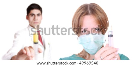 Medical team ready for injection over white background