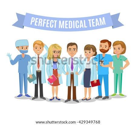 Medical team. Set of hospital medical staff. Doctors, nurses and surgeon. Healthcare and medical concept - stock photo