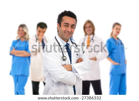 medical teamwork concept with a senior doctor in front of his team