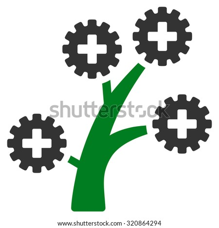 Medical Technology Tree glyph icon. Style is bicolor flat symbol, green and gray colors, rounded angles, white background. - stock photo